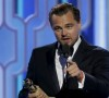 """Leonardo DiCaprio holds his award for Best Actor, Motion Picture, Drama, for """"The Revenant"""", at the 73rd Golden Globe Awards in Beverly Hills, California January 10, 2016. REUTERS/Paul Drinkwater/NBC Universal/Handout For editorial use only. Additional clearance required for commercial or promotional use. Contact your local office for assistance. Any commercial or promotional use of NBCUniversal content requires NBCUniversal's prior written consent. No book publishing without prior approval."""