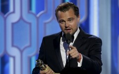 "Leonardo DiCaprio holds his award for Best Actor, Motion Picture, Drama, for ""The Revenant"", at the 73rd Golden Globe Awards in Beverly Hills, California January 10, 2016. REUTERS/Paul Drinkwater/NBC Universal/Handout For editorial use only. Additional clearance required for commercial or promotional use. Contact your local office for assistance. Any commercial or promotional use of NBCUniversal content requires NBCUniversal's prior written consent. No book publishing without prior approval."