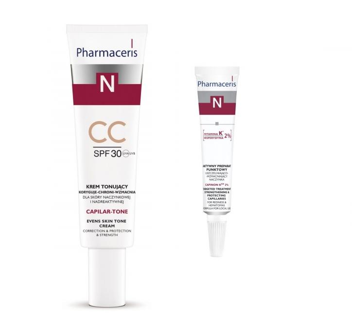1.CAPILAR-TONE CC Krem tonujący koryguje-chroni-wzmacnia dla skóry naczynkowej i nadreaktywnej SPF 30  Krem stosować na dzień. Rozprowadzić preparat na oczyszczoną skórę twarzy i pozostawić do wchłonięcia. Delikatny CC-krem stanowi idealne rozwiązanie dla osób poszukujących pielęgnacji, ochrony oraz wyrównania kolorytu skóry.  Cena: 40ml\42,45zł  2.CAPINON Kcx 2% Aktywny preparat punktowy uszczelniająco-wzmacniający naczynka  Do codziennego, miejscowego stosowania dla skóry naczynkowej. Dla osób z problemem kruchych i płytko położonych naczyń krwionośnych, z tendencją do ich nadmiernego rozszerzania oraz powstawania i nasilania zmian rumieniowych i zaczerwienień. Dla osób ze skłonnością do zasinień, wybroczyn i wylewów podskórnych. Do stosowania przed i po zabiegach medycznych i kosmetycznych.  Cena:  10ml\37,20zł