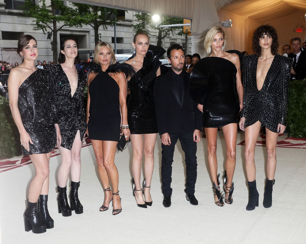 Anthony Vaccarello, Charlotte Casiraghi, Charlotte Gainsbourg, Kate Moss, Amber Valletta, Anja Rubik and Mica Arganaraz